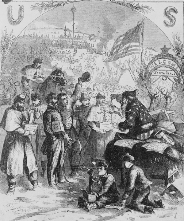 """Santa Claus in Camp,"" an illustration from Harpers, January 3, 1863 (Library of Congress)."