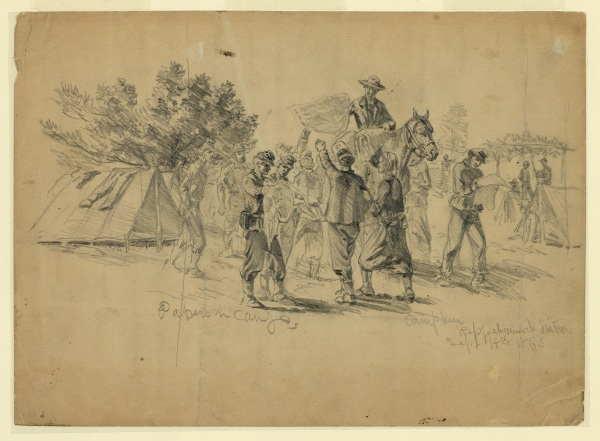 Edwin Forbes sketched the arrival in a Union cap at Rappahannock Station of newspapers from Washington. Click to enlarge (Library of Congress).