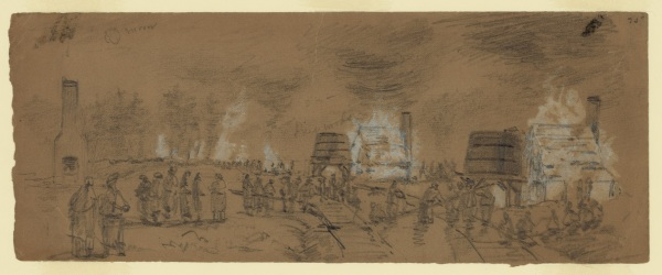 """""""Destruction of Water Ta[nk]s & Engines & engine houses for pumping water into them at Jarrets Station"""" by Alfred Waud depicts action from December 8 on the Weldon Railroad. Click to enlarge (Library of Congress)."""