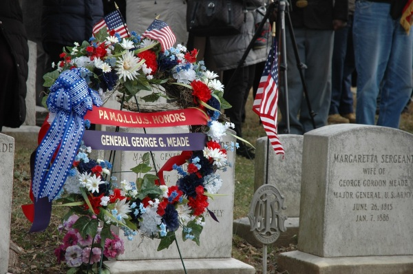 A wreath at General Meade's gravesite, from the 2013 birthday commemoration (Tom Huntington photo).