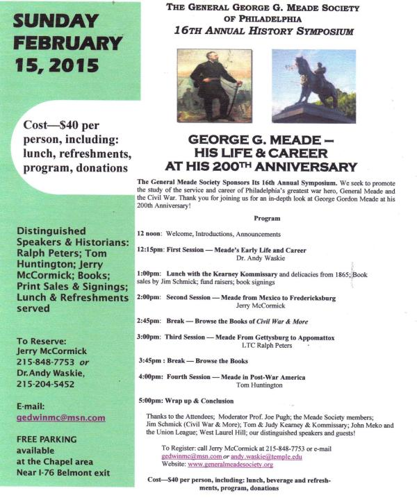 The program for the 2015 Meade Symposium. Click to enlarge.