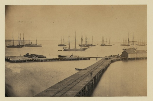 One of the wharves at City Point, in a photograph taken during January 1865 (Library of Congress).