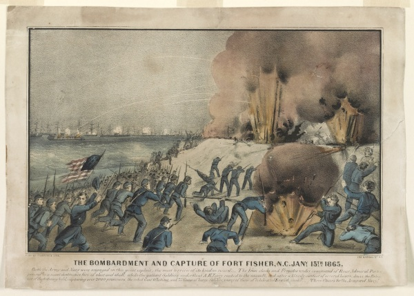 "A Currier & Ives print depicts the capture of Fort Fisher. The caption read: ""Both the Army and Navy were engaged in this great exploit, the most terrific of its kind on record. The Iron clads and Frigates under command of Rear Admiral Porter poured in a most destructive fire of shot and shell; while the gallant Soldiers under Genl. A.H. Terry rushed to the assault, and after a bloody contest of several hours, drove the Rebels out of their strong hold, capturing over 2000 prisoners, the rebel Genl. Whiting, and 75 Guns of large calibre; many of them of 'celebrated English make'. Three cheers for the Army and Navy!"" Click to enlarge (Library of Congress)."