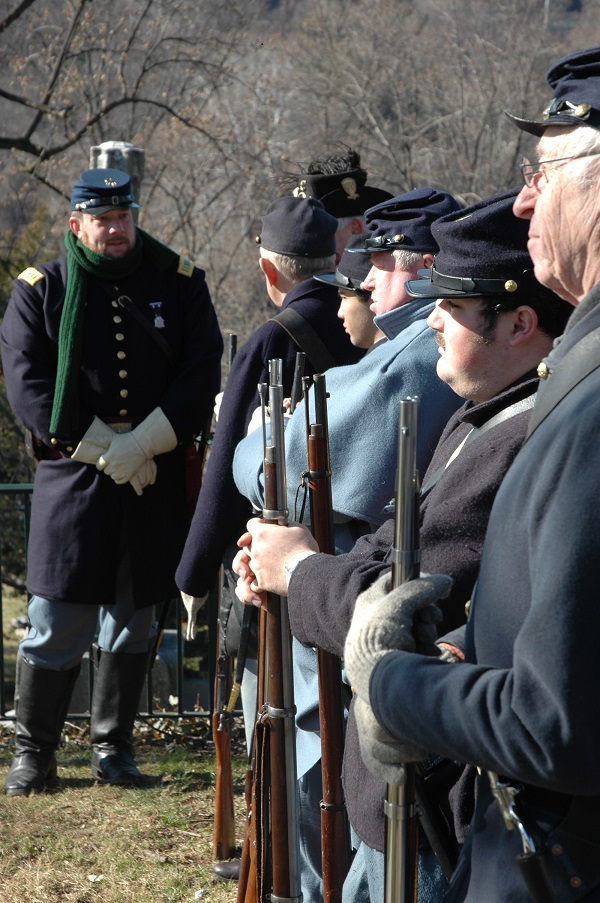 Living historians prepare to fire volleys over Meade's grave (Tom Huntington photo).