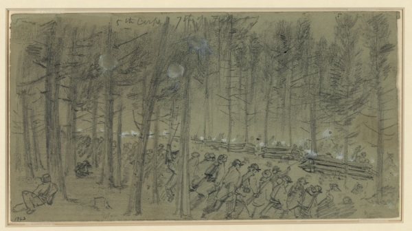 "Alfred Waud sketched the fighting on February 7. On the back, he wrote, ""The 1st Div 5th Corps charging some temporary breastworks of logs piled against trees on the morning of Tuesday 7th Feb. Thick pine woods. The ground smooth and covered with fine leaves. A.R.W. Near Hatchers Run."" Click to enlarge (Library of Congress)."