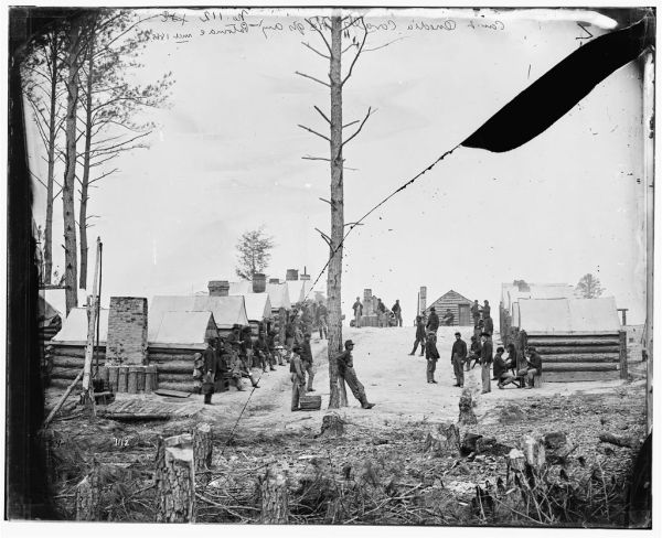 "This is the kind of scene that would have greeted Lyman upon his return to the army. The Library of Congress describes it as, ""Petersburg, Va. General view of camp of Oneida, N.Y., Independent Cavalry Company at Army headquarters, with men at leisure"" (Library of Congress)."