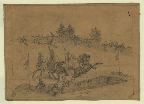 Edwin Forbes sketched the Irish Brigade's St. Patrick races back in 1863. Click to enlarge (Library of Congress).