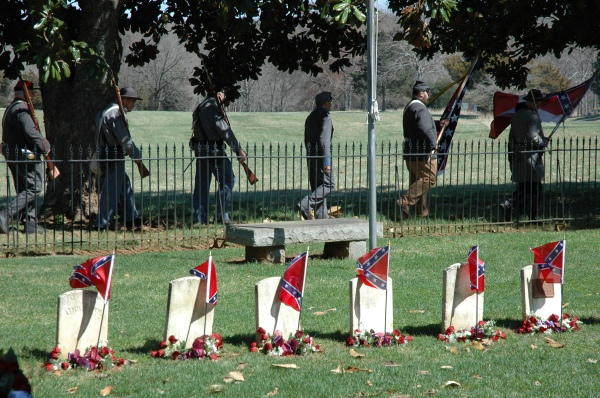 A ceremony at the Confederate cemetery outside Appomattox Court House.