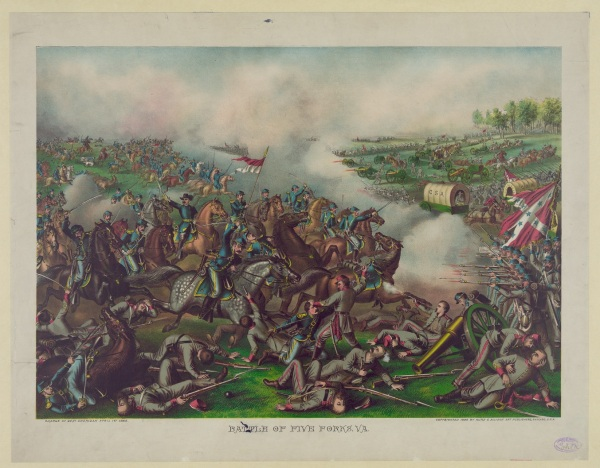 A print depicts Sheridan's attack at Five Forks. Click to enlarge (Library of Congress).