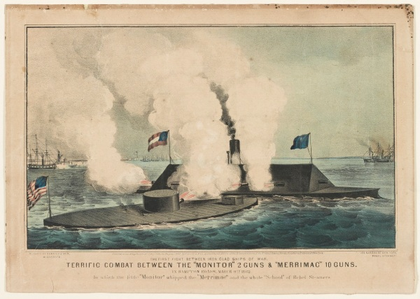 A depiction of the battle between the USS Monitor and the CSS Virginia on March 9, 1862.