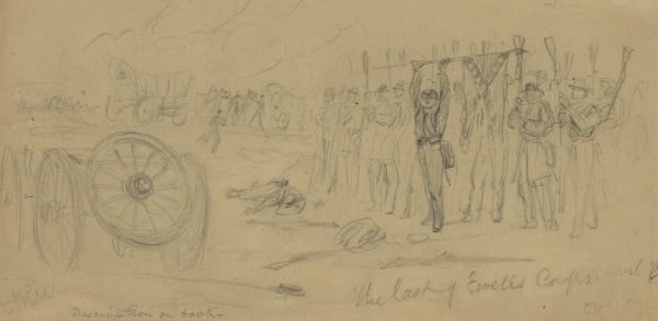"Alfred Waud titled this sketch ""The Last of Ewell's Corps."" It depicted an incident at the Battle of Sailor's Creek. On the back, Waud wrote, ""This was quite an effective incident in its way. The soldiers silhoutted [sic] against the western sky with their muskets thrown butt upwards in token of surrender, as our troops closed in beyond a wagon train which was captured, and burning debris probably other wagons in the gathering gloom."" Click to enlarge (Library of Congress)."