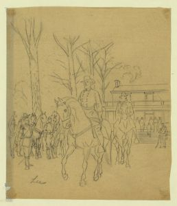 Alfred Waud depicted Lee as he rode away from the surrender meeting (Library of Congress).