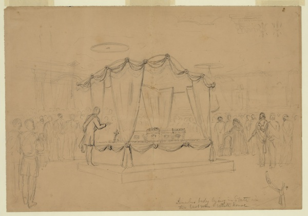"""Lincoln's body lying in state in the East room White house,"" a sketch by Alfred Waud. Click to enlarge (Library of Congress)."