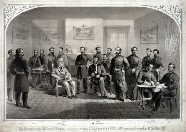 Robert E. Lee surrendered in Wilmer McLean's parlor. Afterwards, souvenir-seeking Union soldiers nearly stripped McLean's house of furnishings. In an attempt to recoup his losses, McLean commissioned this fanciful print of the surrender. George Meade is one of the people who appear here, but were not present at the actual surrender. Click to enlarge (via Wikipedia).