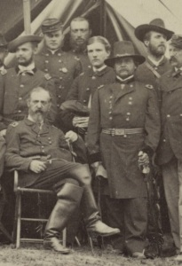 Meade (sitting at left) and Lyman (standing in the rear at right) at Cold Harbor (Library of Congress).