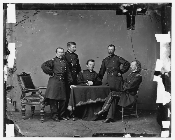 Philip Sheridan with (left to right) Col. James Forsyth, Wesley Merritt, Thomas C. Devin and George Custer (Library of Congress).