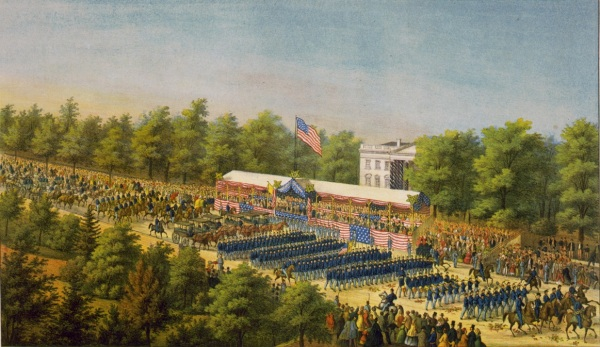 An artist's conception of the reviewing stand (Library of Congress).