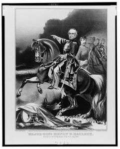 A Currier & Ives print fro 1862 depicts Henry Halleck in a heroic pose (Library of Congress).