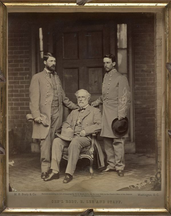 Robert E. Lee at 707 E. Franklin Street with son George Washington Custis Lee (left) and staffer Walter H. Taylor (Library of Congress).