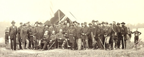 George Gordon Meade and his staff, photographed outside Washington in June 1865 (library of Congress).