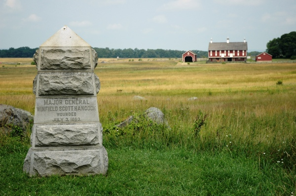 A marker indicates the spot where Hancock fell at Gettysburg on July 3, 1863 (Photo by Tom Huntington).